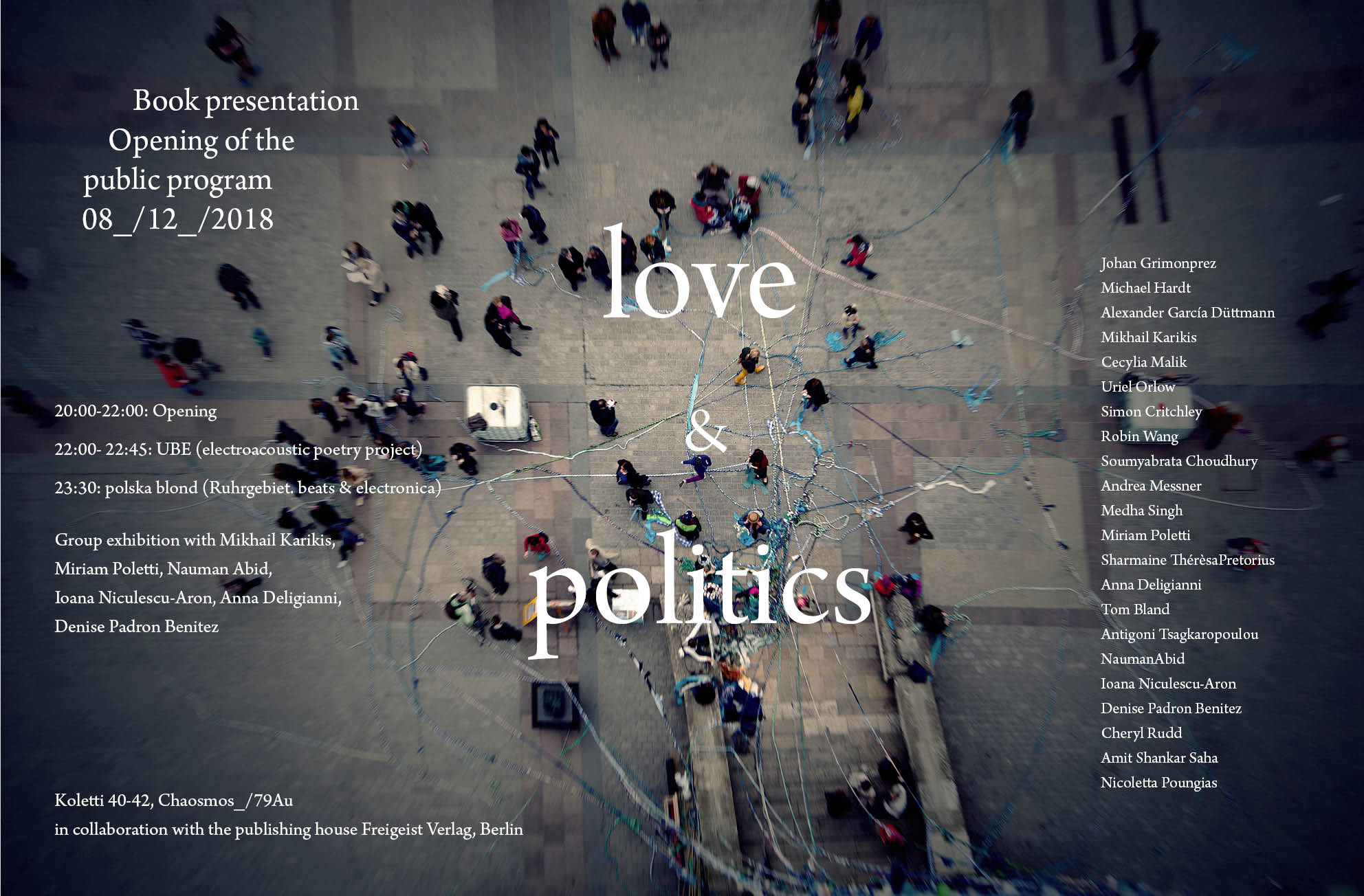 poster love and politics public program opening von